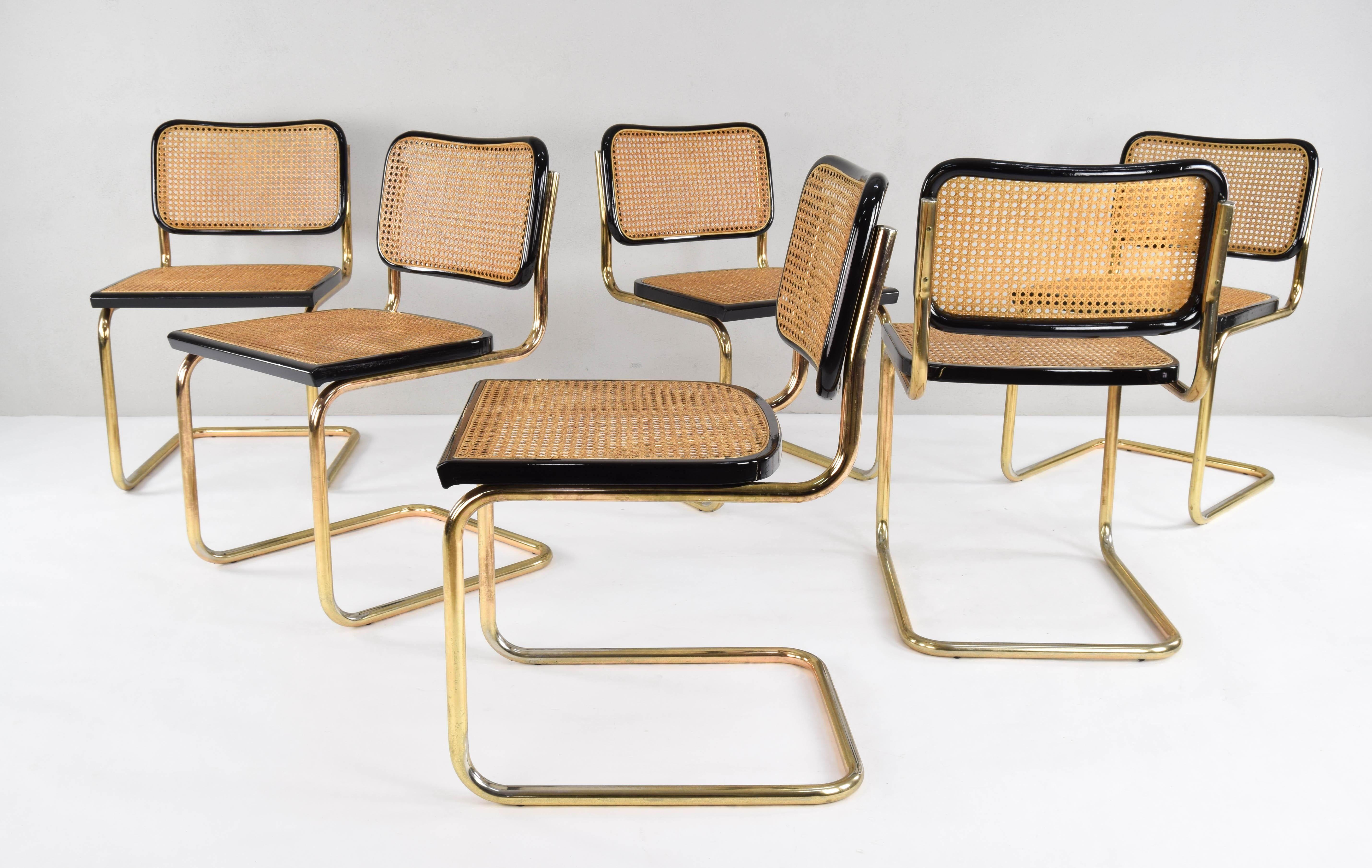 MidCentury Modern Golden Steel Cesca Chairs of Marcel