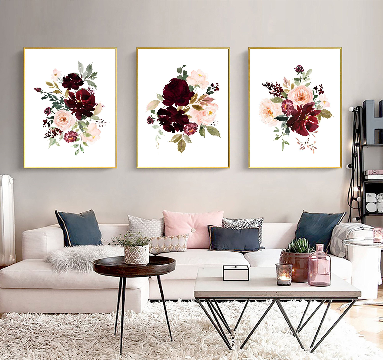 Blush And Burgundy Flowers Art Set Printable Burgundy Blush Etsy Wall Decor Bedroom Abstract Wall Art Flower Wall Art