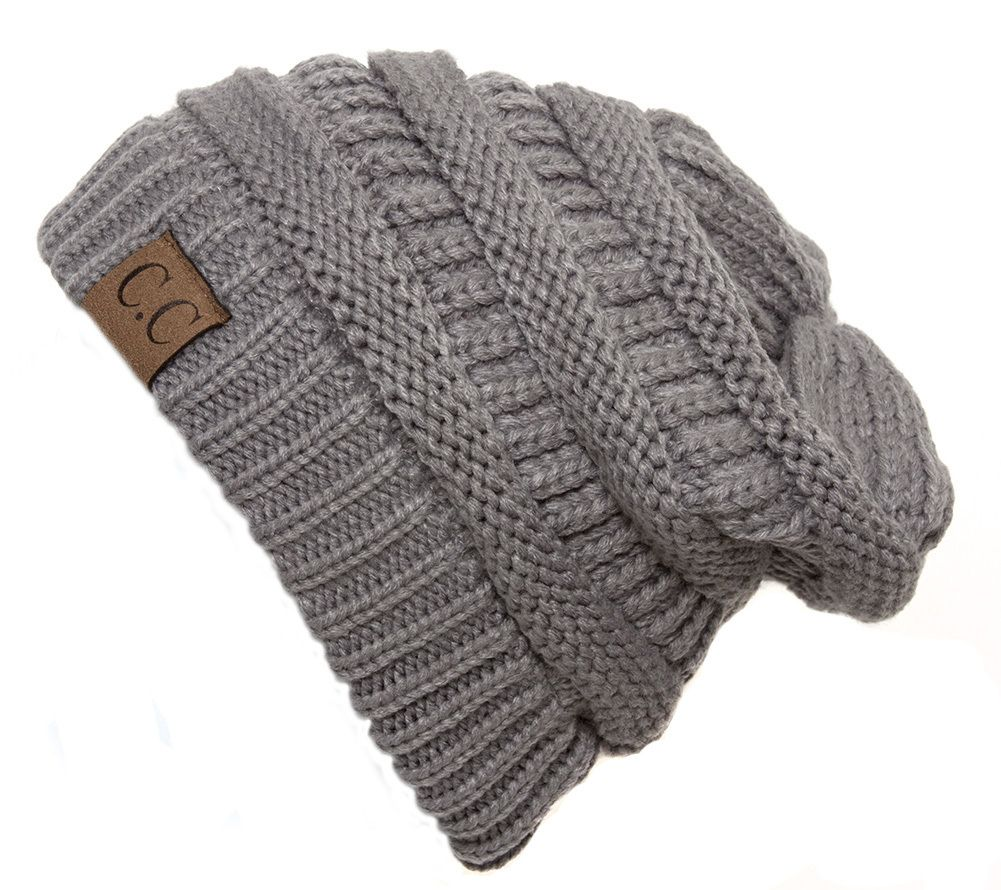 Light Grey Thick Knit Soft Stretch Beanie Cap