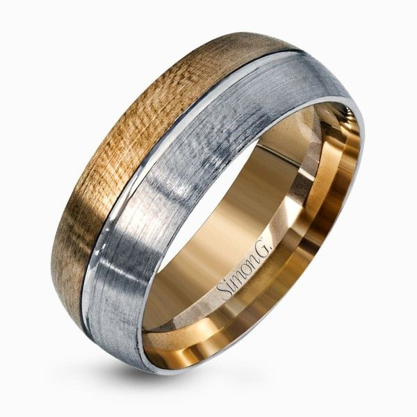 Brilliant Two Tone Mens Wedding Band Design From Simongjewelry