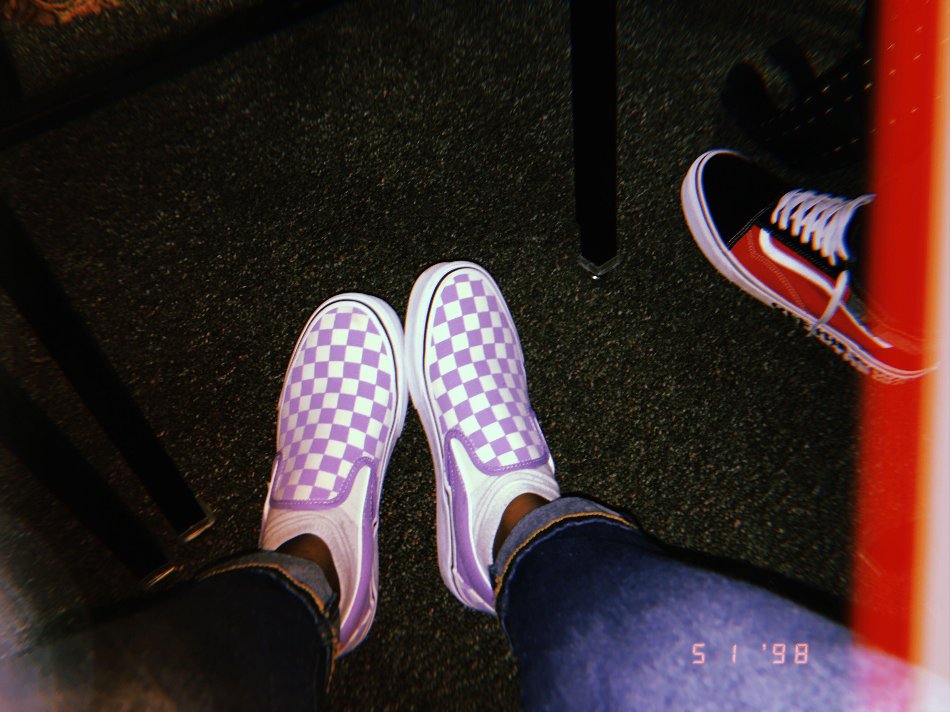 Purple checkered slip on Vans | Purple