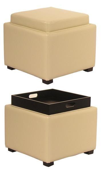 Pleasant Cameron Square Leather Storage Ottoman W Tray Beige In Ibusinesslaw Wood Chair Design Ideas Ibusinesslaworg