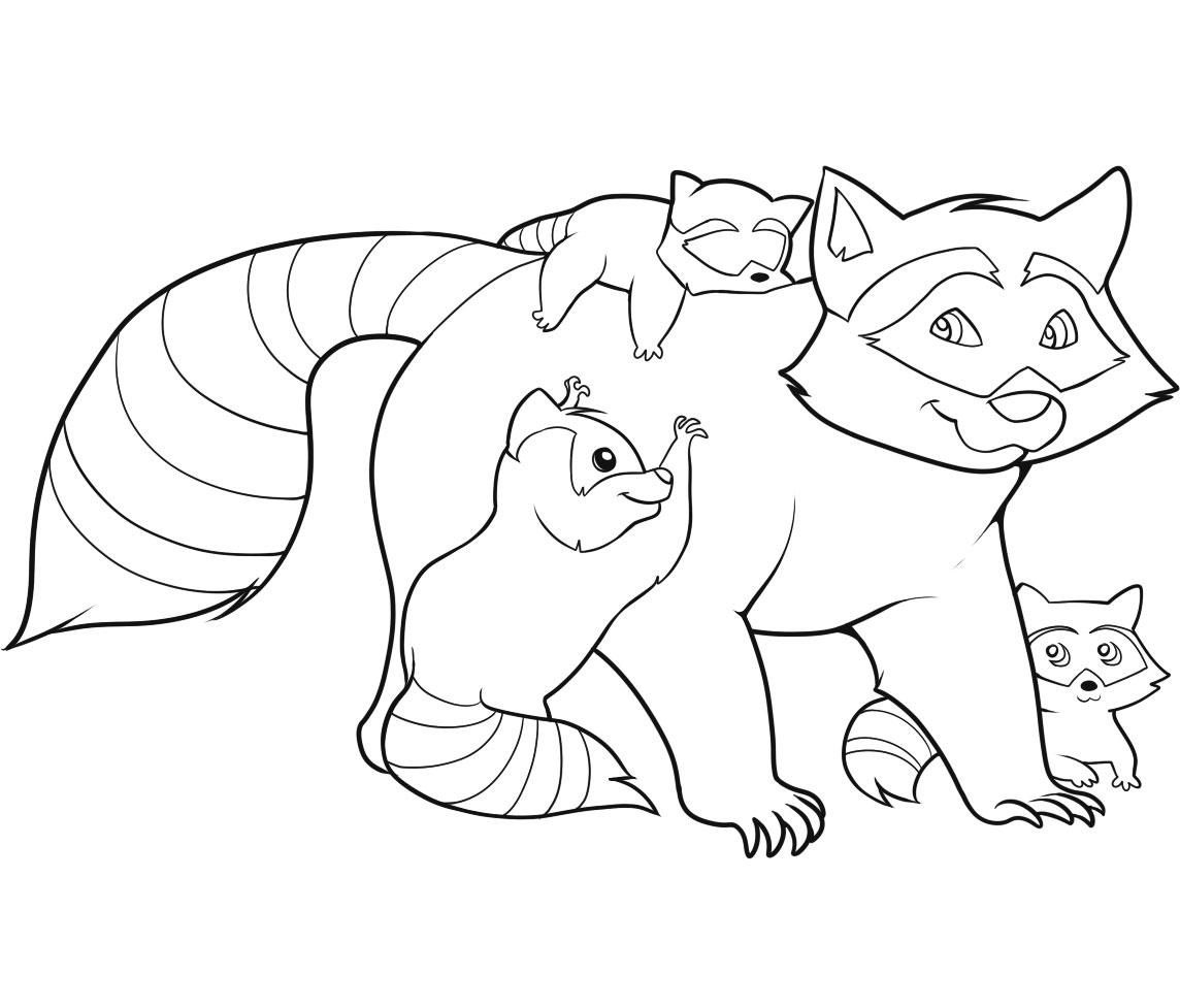Free Coloring Pages Family Raccoon Raccoon Printable