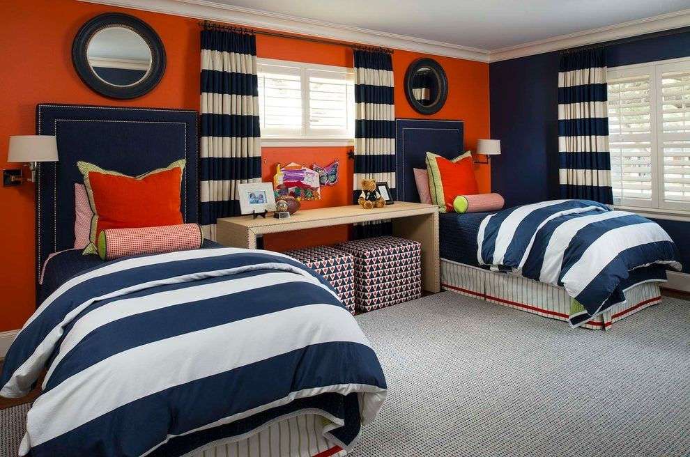Red And Blue Boys Room Kids Transitional With Round Mirror
