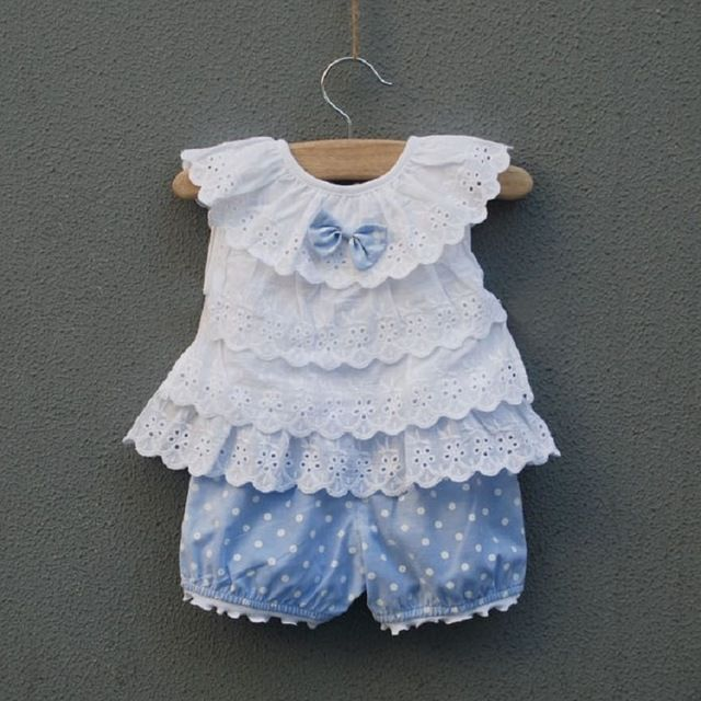 infant clothing Female baby clothes childrens clothing 0-24months princess suits summer set lovely baby girls set vest+shorts