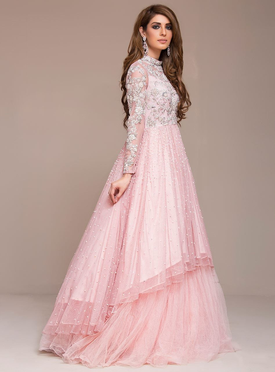 Picture Of Blush Pink Gown Pink Gowns Pakistani Gowns Indian Gowns Dresses
