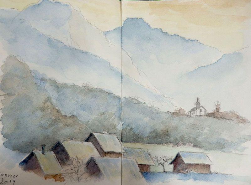 Village De Montagne Sous La Neige En Hiver Mes Aquarelles En