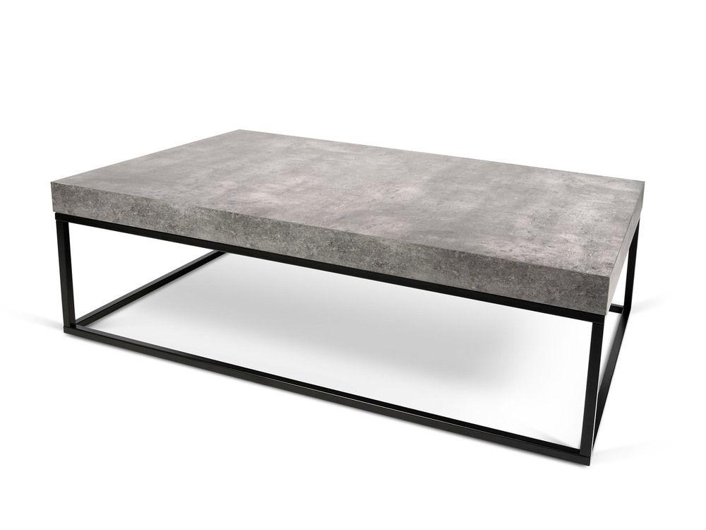 Table Basse Design En Bois Effet Béton Et Métal L120 Cm Petra | Salons