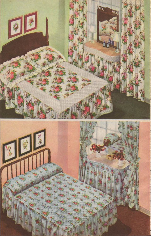 1942 Sears Christmas Bedrooms   My Favorite Style Of Bedspread In The  Bottom Picture!