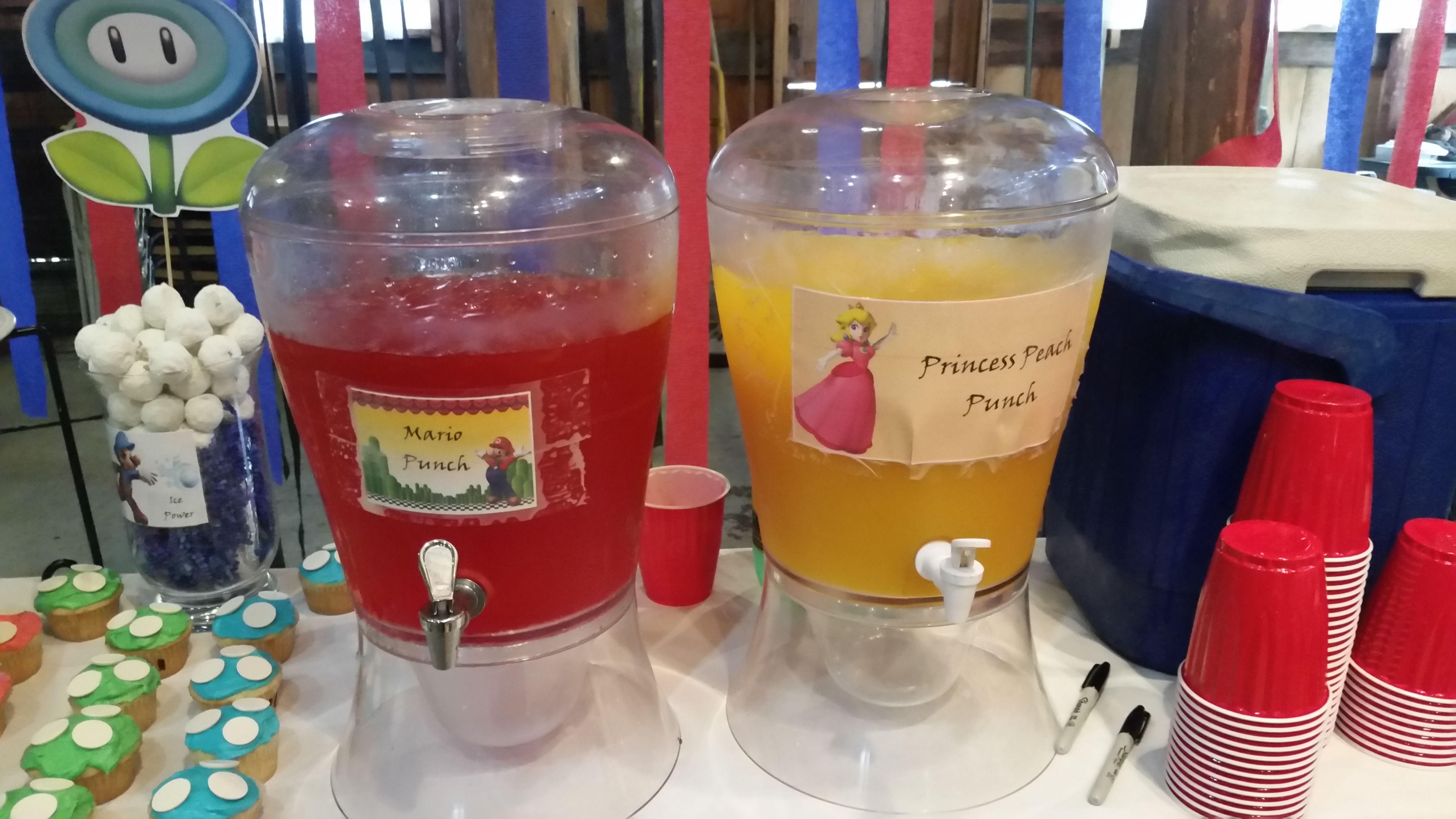 Super Mario Brothers Party. Mario Punch and Princess Peach Punch. The Princes Peach Punch is actually Mango juice cocktail from Costco mixed with 7up.