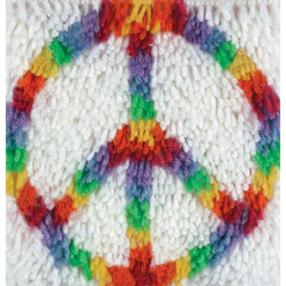 Wonderart Peace Sign Hippie Latch Hook Rug Kit Kids Craft Kit 12 X 12  Square Made