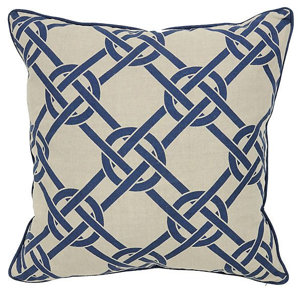 One Kings Lane - In the Mix - Catalina 22x22 Linen Pillow, Blue