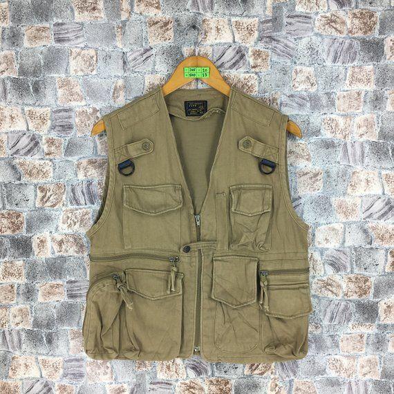 6824dc0baacf1 Vintage AIR FORCES US Army Vest Jacket Coat Medium Denim Sleeveless Men  Cargo Tactical Jacket Multi Pocket Jacket Brown Size M