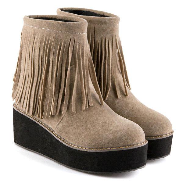 3520 Platform Fringe Suede Ankle Boots