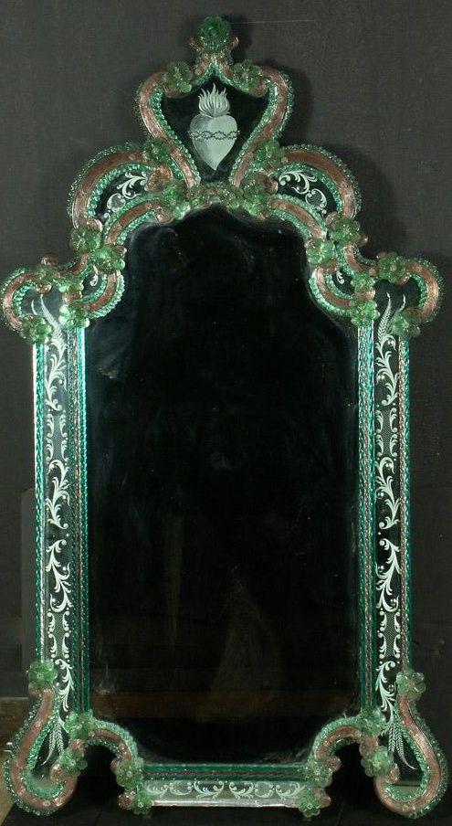 Antique Fratelli Tosi Venetain Etched Murano Mirror