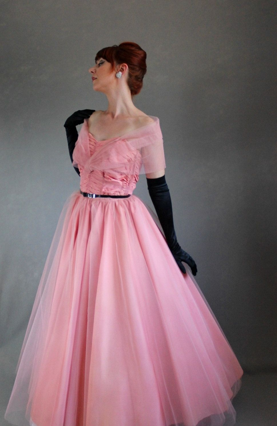 S pink party prom dress mad men fashion evening dress