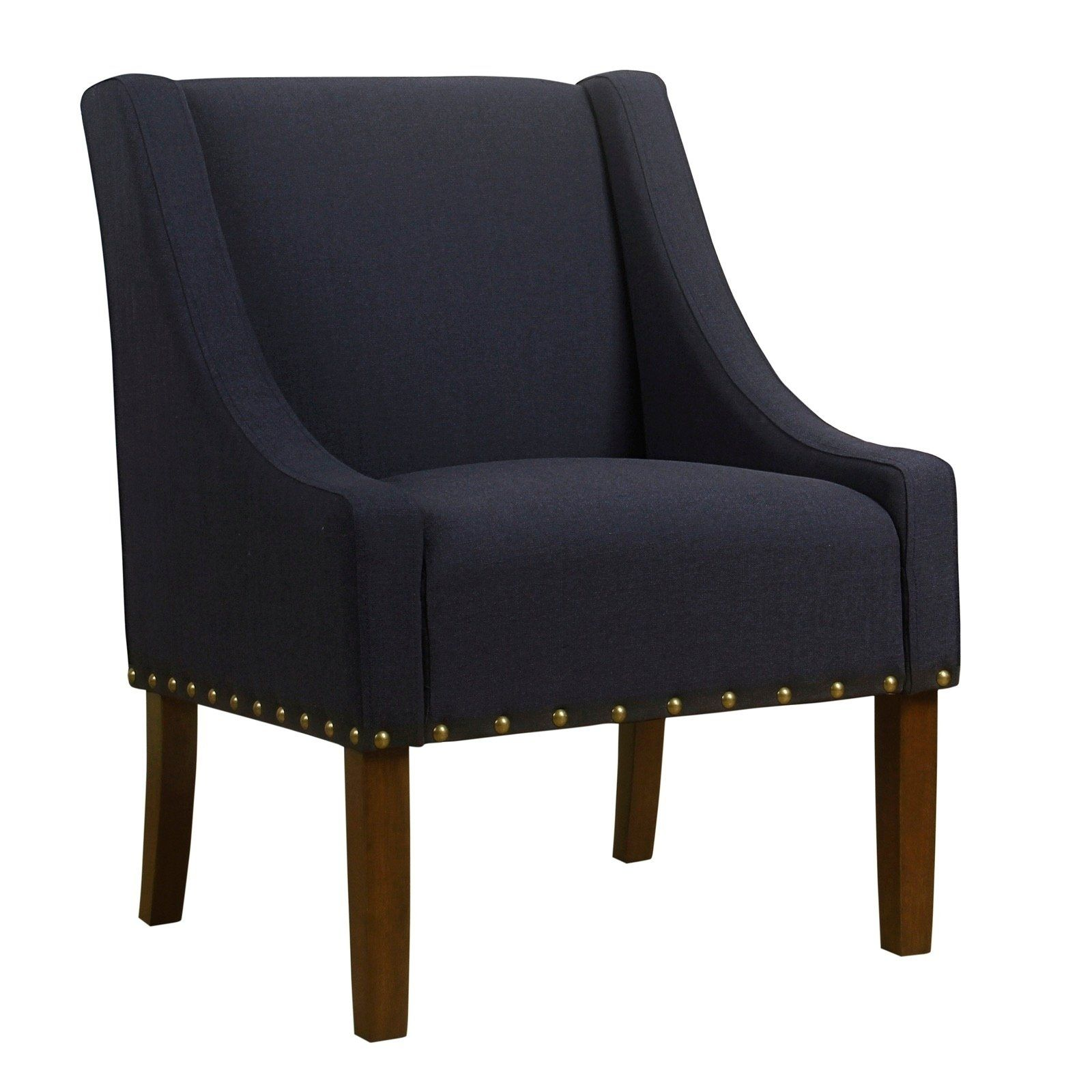 Best Fabric Upholstered Accent Chair With Swooping Arms And 400 x 300