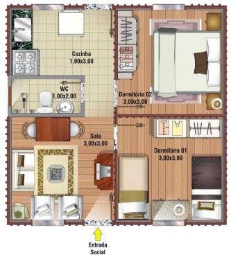 plantas de casas de alvenaria com 2 quartos