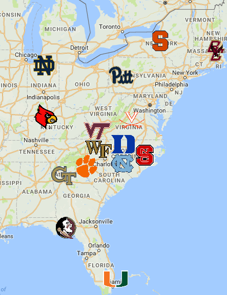 2018 Acc Map Acc Teams Acc Map