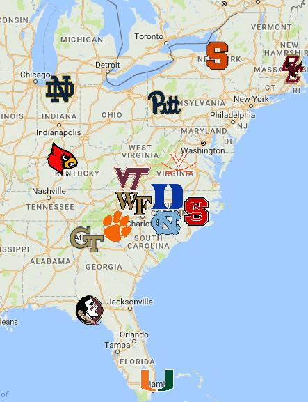 Atlantic Coast Conference (ACC) Map Acc, Sports logo