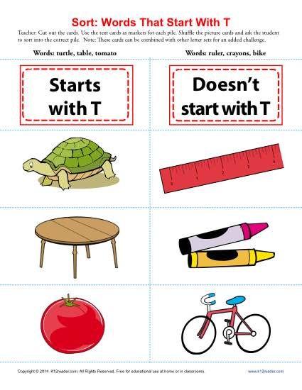 Words Starting With Letter T  Worksheets Printable Worksheets