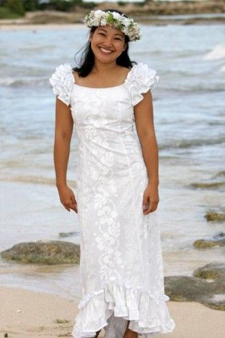 The Holoku is a simple native Hawaiian wedding dress. | Traditional ...