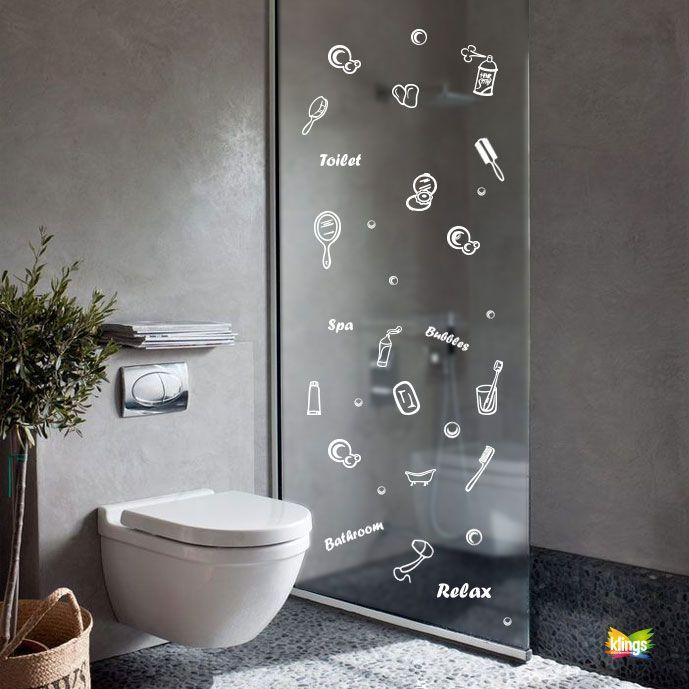 Vinilos Decorativos - SPA, elemenos de baño cepillo, jabon, espejo