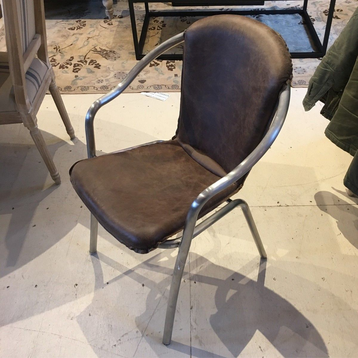 M 6636 On Chair On Brushed Metal Legs In Whiskey Leather Finish Mohr Mcpherson Leather Furniture Chair Brushed Metal
