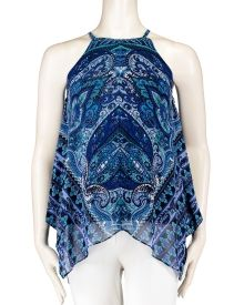 Paisley Placed Print Halter Top, Main View