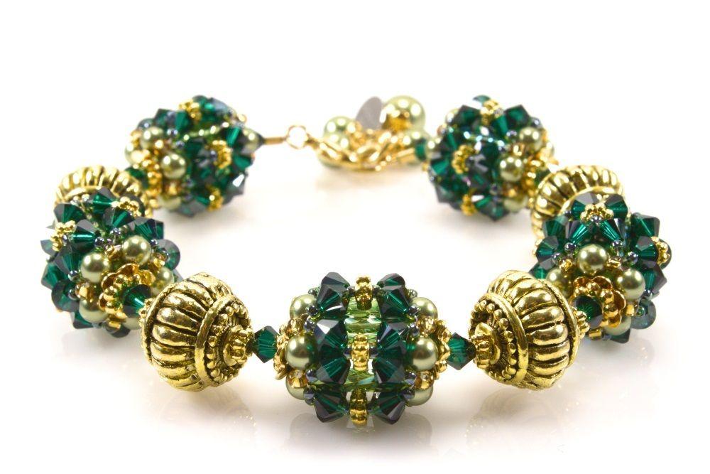 Emerald Satin and Green Pearl Beaded Bead Bracelet