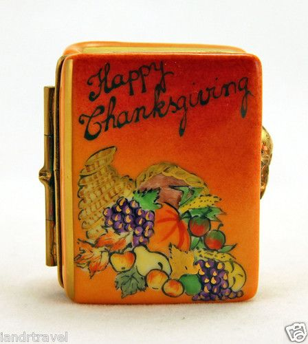 NEW FRENCH LIMOGES BOX HAPPY THANKSGIVING BOOK W PAINTED CORNUCOPIA & TURKEY