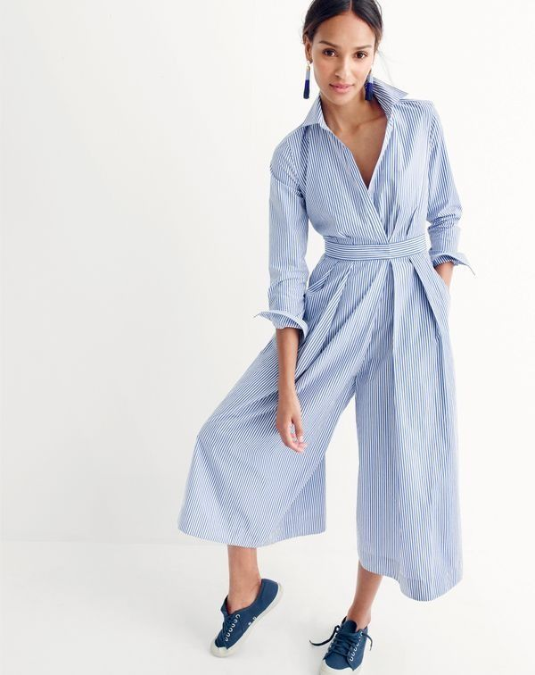 5f8ecb4a5f60 J.Crew women s wide-leg jumpsuit in shirting stripe