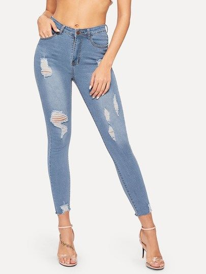 43d716fcd Ripped Button Fly Skinny Jeans [pants190128933] - $40.00 : cuteshopp.com