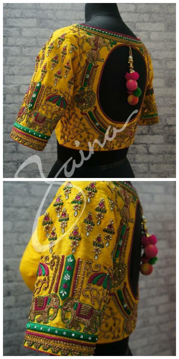 9b2c7202bf9350 Yellow blouse....elephants embroidery