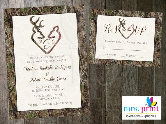 Camo Deer Hearts Wedding Invitation And Rsvp Card Weddings