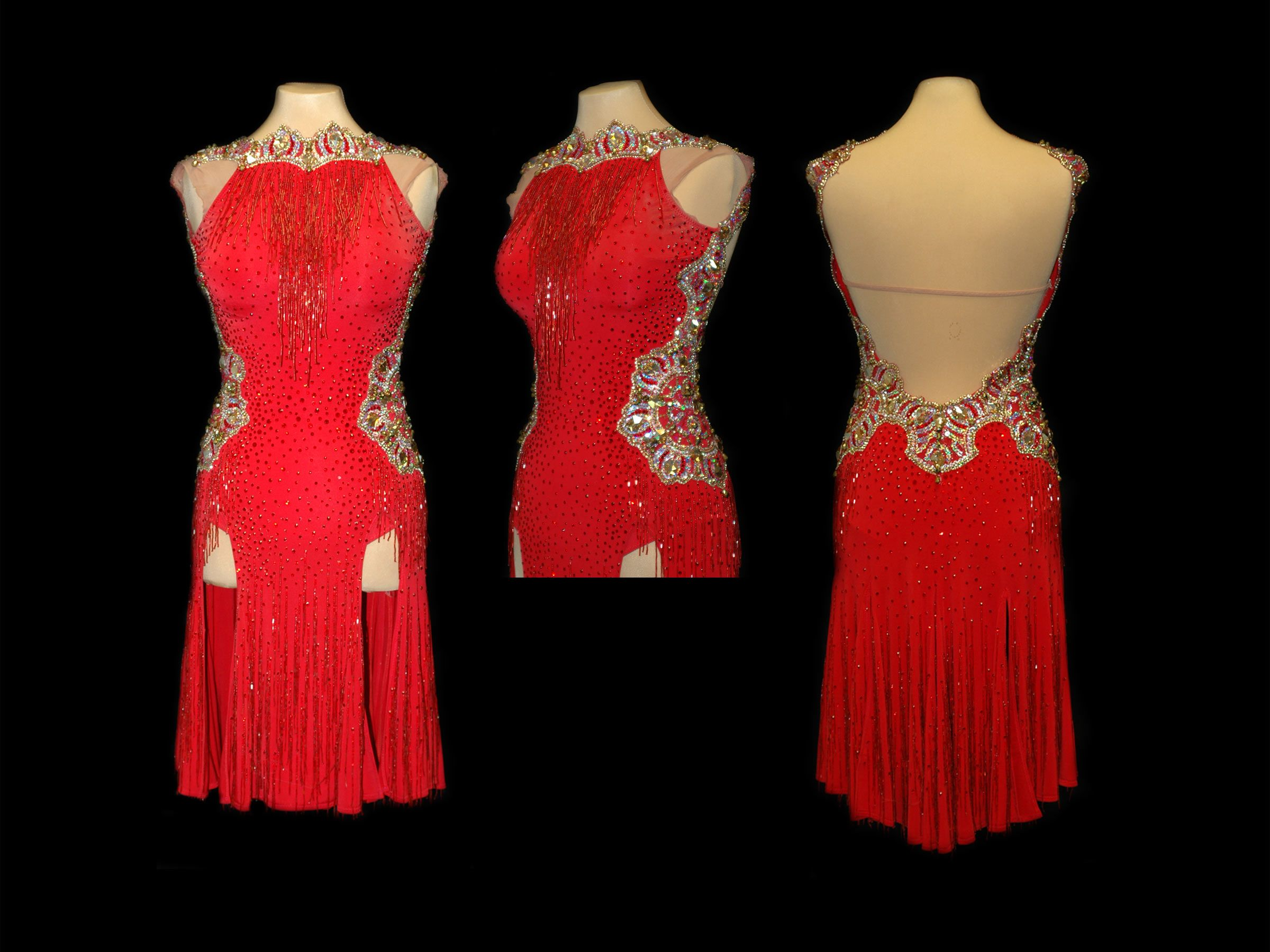 Doré Designs | Red Latin w/Large Crystal Appliques & Red Beaded Fringe