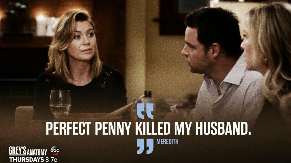 Meredith Alex & Arizona Meredith saying Perfect penny killed my husband how sad this episode was for Meredith and how a good Friend Alex has been to her