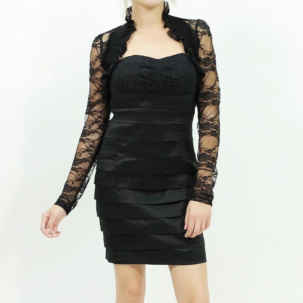 Lace smocked detailed long sleeve bolero shrug wrap black boleros