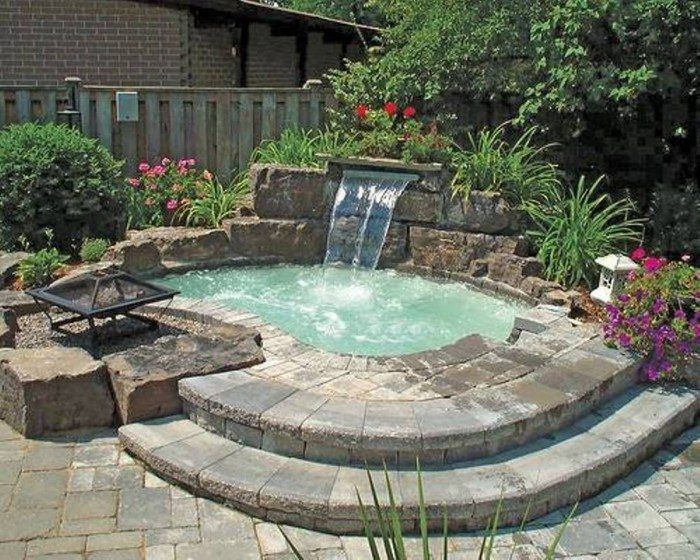 Inground Hot Tub With Waterfall And Fire Pit Small Backyard