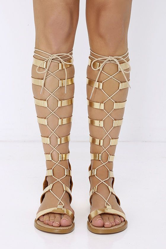 d6f2d67803 Chinese Laundry Galactic Gold Tall Gladiator Sandals at Lulus.com!