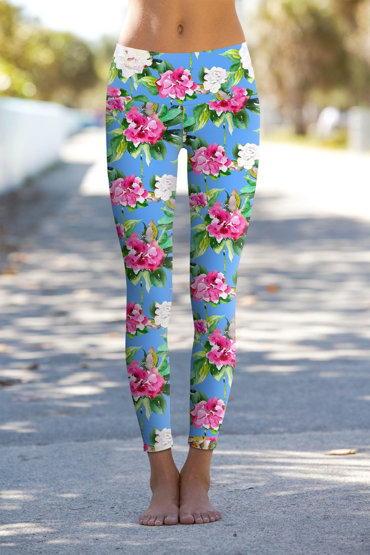 5fb897d70302b Aquarelle Lucy Blue Floral Print Performance Leggings Yoga Pants - Women