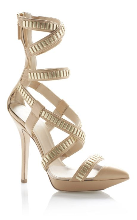 VERSACE - Champagne Pointed Toe Gladiator Pump