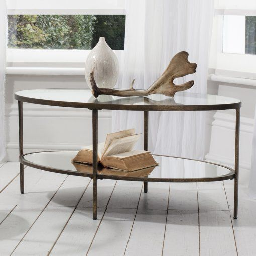 Gallery Direct Hudson Bronze Metal And Glass Coffee Table With