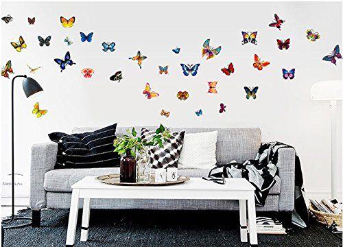 ufengke® 81 Pz Farfalle Danzanti Colorate Adesivi Murali, Camera da ...