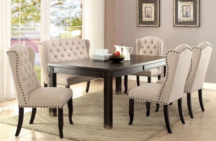 Cm3324bk T 6pc 6 Pc Sania Ii Antique Black Finish Wood Dining Table Set With Padded Chairs Dining Table Black Dining Room Sets Upholstered Dining Bench