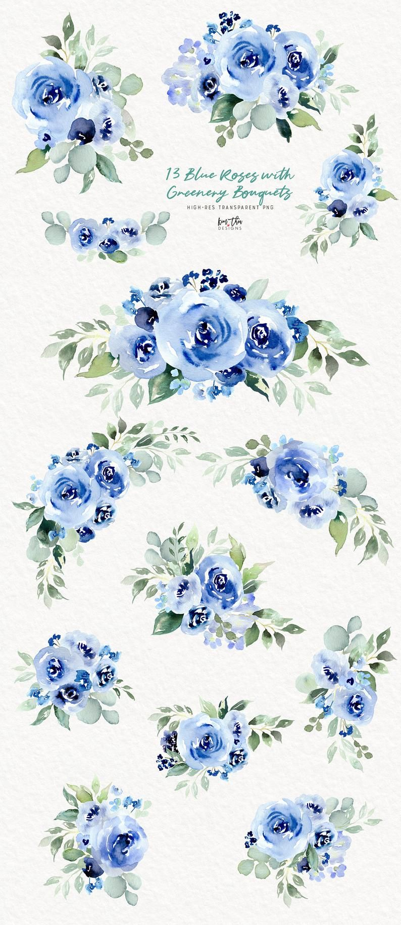 Blue Roses Watercolor Clipart With Greenery Blue Flowers Png Watercolor Rose Blue Roses Blue Flower Png