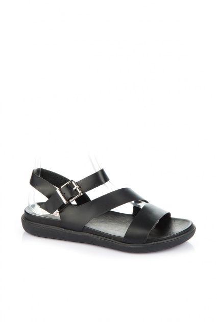 Hakiki Deri Siyah Kadin Sandalet 16ymd18365 Sandalet Motorcu Botlari Bayan Ayakkabi