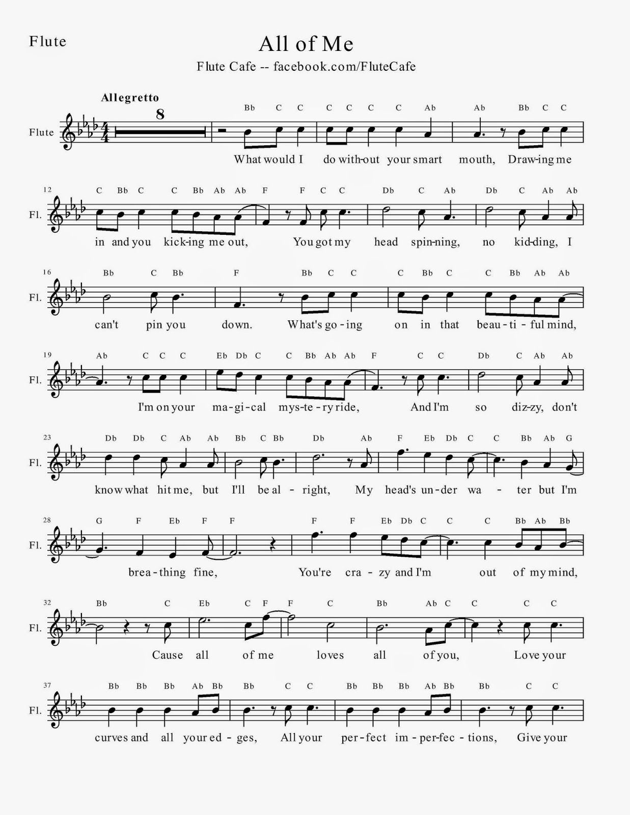 image about Printable Flute Sheet Music known as Flute Restaurant: All of Me (Flute Sheet Audio) songs Flute