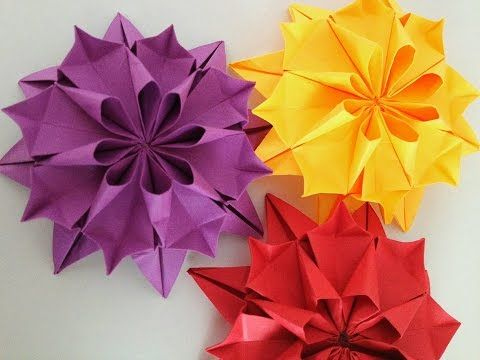 "Beautiful Flower Origami - Paper ""Dahlia Flower"" - YouTube"