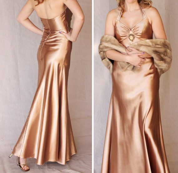 Champagne Gold Satin Gatsby Inspired Gown by Jessica McClintock for Gunne Sax